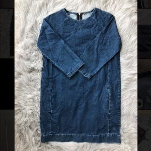 Topshop Denim shift dress with functional pockets